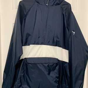 Navy Blue and White Fleece Charles River Pullover